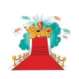 Αστείοι χαρακτήρες της πώλησης: επιστολές στο κόκκινο χαλί Διανυσματική απεικόνιση