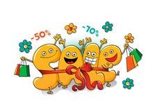 Αστείοι χαρακτήρες της πώλησης: επιστολές ως δώρο Ελεύθερη απεικόνιση δικαιώματος