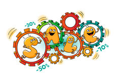 Αστείοι χαρακτήρες της πώλησης: η ρόδα των πωλήσεων Διανυσματική απεικόνιση