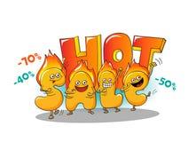Αστείοι χαρακτήρες της πώλησης: καυτές επιστολές Διανυσματική απεικόνιση