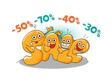Αστείοι χαρακτήρες της πώλησης: μεγάλη πώληση Ελεύθερη απεικόνιση δικαιώματος