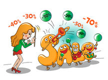 Αστείοι χαρακτήρες της πώλησης: μουσική της πώλησης Απεικόνιση αποθεμάτων