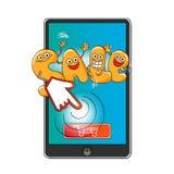 Αστείοι χαρακτήρες της πώλησης: οι επιστολές με ένα κουμπί αγοράζουν on-line Απεικόνιση αποθεμάτων