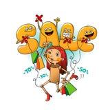 Αστείοι χαρακτήρες της πώλησης: οι επιστολές χειρίζονται τις πωλήσεις Απεικόνιση αποθεμάτων