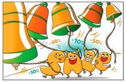 Αστείοι χαρακτήρες της πώλησης: οι επιστολές χτυπούν τα κουδούνια Απεικόνιση αποθεμάτων