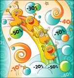 Αστείοι χαρακτήρες της πώλησης: ουράνιο τόξο της πώλησης Ελεύθερη απεικόνιση δικαιώματος
