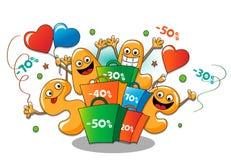 Αστείοι χαρακτήρες της πώλησης: πώληση διακοπών Διανυσματική απεικόνιση