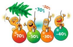Αστείοι χαρακτήρες της πώλησης: πώληση Χριστουγέννων Απεικόνιση αποθεμάτων