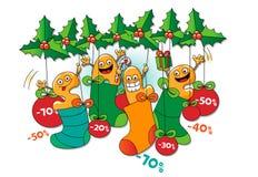 Αστείοι χαρακτήρες της πώλησης: πώληση Χριστουγέννων Διανυσματική απεικόνιση