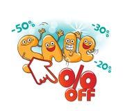 Αστείοι χαρακτήρες της πώλησης: τοις εκατό μακριά Απεικόνιση αποθεμάτων