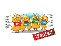 Αστείοι χαρακτήρες της πώλησης: φάκελος στην πώληση Διανυσματική απεικόνιση