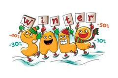 Αστείοι χαρακτήρες της πώλησης: Χειμερινή πώληση Απεικόνιση αποθεμάτων