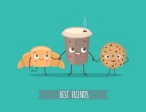 Αστείοι χαρακτήρες croissant, μπισκότα με τη σοκολάτα και το φλυτζάνι ομο Στοκ εικόνες με δικαίωμα ελεύθερης χρήσης