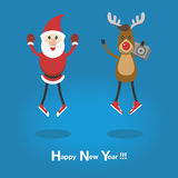 Αστείοι Santa και τάρανδος στα πάνινα παπούτσια Στοκ Εικόνα