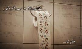 Αστείος άθλος θέματος Χριστουγέννων εορταστικός ρόλος τουαλετών στοκ εικόνες
