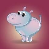 Αστείος λίγα κινούμενα σχέδια Hippo Χαρακτήρας παιδιών ` s Στοκ φωτογραφία με δικαίωμα ελεύθερης χρήσης