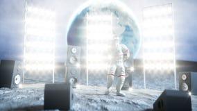 Αστείος αστροναύτης που χορεύει στο φεγγάρι Ρεαλιστική 4K ζωτικότητα ελεύθερη απεικόνιση δικαιώματος