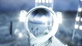 Αστείος αστροναύτης που χορεύει στο φεγγάρι Ρεαλιστική 4K ζωτικότητα απεικόνιση αποθεμάτων