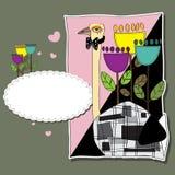 Αστείος βαλεντίνος με τη στρουθοκάμηλο και τα λουλούδια Στοκ φωτογραφίες με δικαίωμα ελεύθερης χρήσης