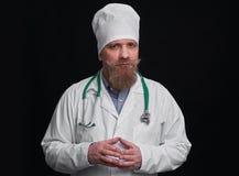 Αστείος γιατρός με το mustache και τη γενειάδα Στοκ Εικόνα