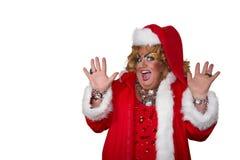 Αστείος δράστης παρωδίας Βασίλισσα έλξης στο κοστούμι santa απομονωμένος Στοκ Φωτογραφία