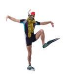 Αστείος δύτης στη μάσκα και βατραχοπέδιλα με τη γιρλάντα στοκ εικόνα