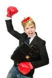 Αστείος επιχειρηματίας με την κορώνα Στοκ φωτογραφία με δικαίωμα ελεύθερης χρήσης