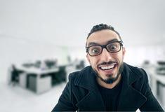 Αστείος επιχειρηματίας με την τρελλή έκφραση Στοκ Εικόνα
