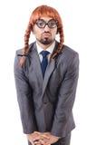 Αστείος επιχειρηματίας με τη θηλυκή περούκα Στοκ Εικόνα