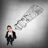 Αστείος επιχειρηματίας με το ξυπνητήρι Στοκ Εικόνα