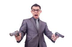 Αστείος επιχειρηματίας με το πυροβόλο όπλο Στοκ Εικόνες