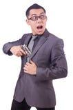 Αστείος επιχειρηματίας με το πυροβόλο όπλο Στοκ εικόνα με δικαίωμα ελεύθερης χρήσης