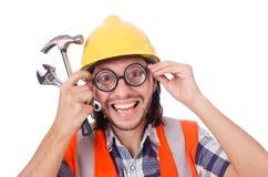 Αστείος εργάτης οικοδομών με το σφυρί και το γαλλικό κλειδί Στοκ φωτογραφία με δικαίωμα ελεύθερης χρήσης