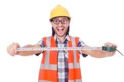 Αστείος εργάτης οικοδομών την ταινία-γραμμή που απομονώνεται με Στοκ Φωτογραφία
