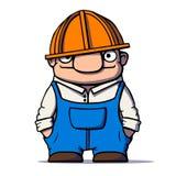 Αστείος εργαζόμενος κινούμενων σχεδίων, οικοδόμος, υδραυλικός επίσης corel σύρετε το διάνυσμα απεικόνισης Στοκ εικόνα με δικαίωμα ελεύθερης χρήσης