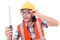 Αστείος εργαζόμενος constructon με την ταινία-γραμμή που απομονώνεται Στοκ εικόνα με δικαίωμα ελεύθερης χρήσης