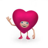 Αστείος ευτυχής χνουδωτός ρόδινος χαρακτήρας καρδιών βαλεντίνων Στοκ φωτογραφίες με δικαίωμα ελεύθερης χρήσης