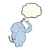αστείος ελέφαντας κινούμενων σχεδίων με τη σκεπτόμενη φυσαλίδα Στοκ Εικόνες
