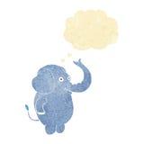 αστείος ελέφαντας κινούμενων σχεδίων με τη σκεπτόμενη φυσαλίδα Στοκ Φωτογραφίες