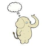 αστείος ελέφαντας κινούμενων σχεδίων με τη σκεπτόμενη φυσαλίδα Στοκ φωτογραφίες με δικαίωμα ελεύθερης χρήσης