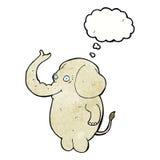 αστείος ελέφαντας κινούμενων σχεδίων με τη σκεπτόμενη φυσαλίδα Στοκ εικόνα με δικαίωμα ελεύθερης χρήσης