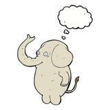 αστείος ελέφαντας κινούμενων σχεδίων με τη σκεπτόμενη φυσαλίδα Στοκ εικόνες με δικαίωμα ελεύθερης χρήσης