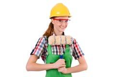 Αστείος ζωγράφος γυναικών στην έννοια κατασκευής που απομονώνεται Στοκ εικόνα με δικαίωμα ελεύθερης χρήσης