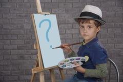 αστείος ζωγράφος χαρακτήρα κινουμένων σχεδίων αγοριών Στοκ Φωτογραφία