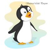Αστείος και χαριτωμένος εξέπληξε λίγο penguin Χαρούμενα Χριστούγεννα και κάρτα καλής χρονιάς Κάρτα Χριστουγέννων στο ύφος κινούμε Στοκ φωτογραφία με δικαίωμα ελεύθερης χρήσης