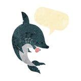 αστείος καρχαρίας κινούμενων σχεδίων με τη λεκτική φυσαλίδα Στοκ εικόνα με δικαίωμα ελεύθερης χρήσης