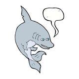 αστείος καρχαρίας κινούμενων σχεδίων με τη λεκτική φυσαλίδα Στοκ Εικόνες