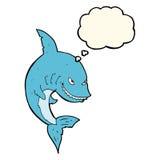 αστείος καρχαρίας κινούμενων σχεδίων με τη σκεπτόμενη φυσαλίδα Στοκ Εικόνες