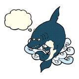αστείος καρχαρίας κινούμενων σχεδίων με τη σκεπτόμενη φυσαλίδα Στοκ φωτογραφίες με δικαίωμα ελεύθερης χρήσης