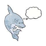 αστείος καρχαρίας κινούμενων σχεδίων με τη σκεπτόμενη φυσαλίδα Στοκ Φωτογραφία